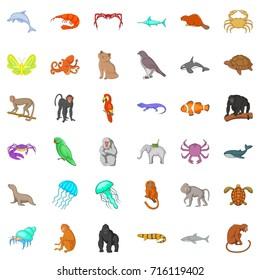 Many animals icons set. Cartoon style of 36 many animals  icons for web isolated on white background