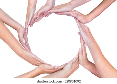 Many arms of young girls with hands making circle isolated on white background