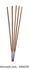 Many aromatic incense sticks on white background