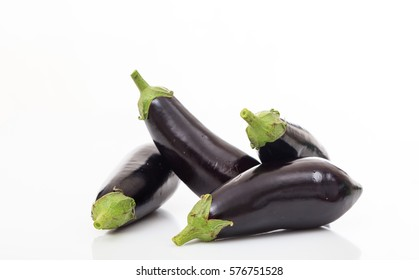Many aubergines isolated on a white background