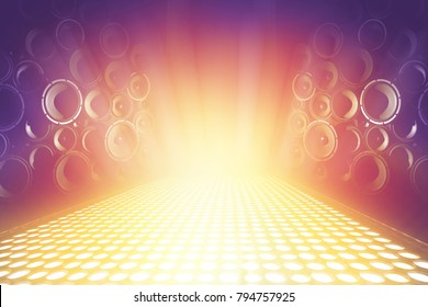 many audio sound speakers on lighting music stage, abstract sparkling background