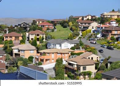 Many australian family houses on the hills