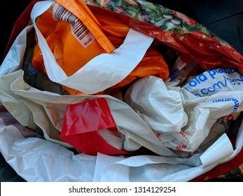 Many 'Bags For Life' stuffed into a single bag so that they can be reused, following the ban on free, disposable, single use plastic carrier bags and charge for reusable bags in UK supermarkets