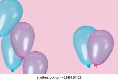 Many balloons isolated on pink background. Birthday party. Copy space