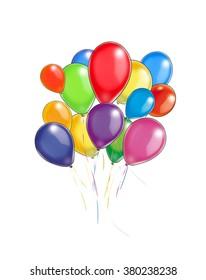 Many Balloons on white background, isolated. Illustration, hand drawn. Holiday background