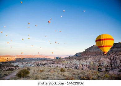 Many balloons over Cappadocia in Turkey