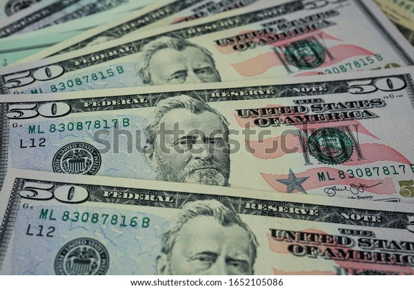 many banknotes on the table