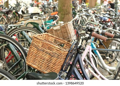 Many bicycles in shopping street, bicycle parking