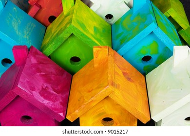 """Many Birdhouses from the """"Nesting for Peace"""" project"""