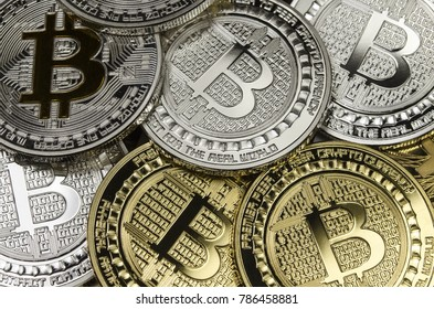 Many Bitcoin coins with currency symbol