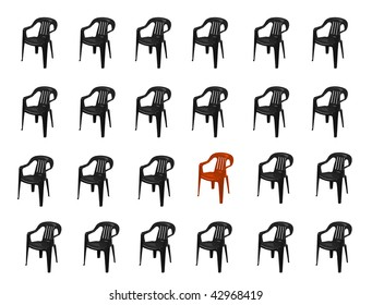 many black  plastic chairs and the red one  on white
