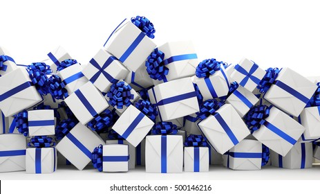 Many blue christmas presents on a pile (3D Rendering)