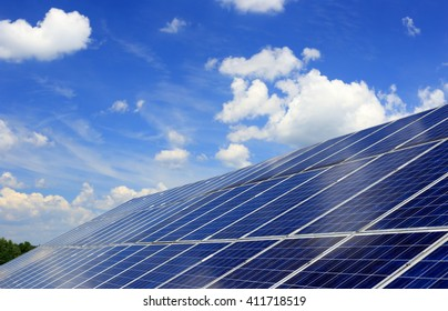 many blue solar panels to generate power