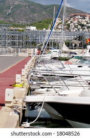 Many boats moored at the sports harbor