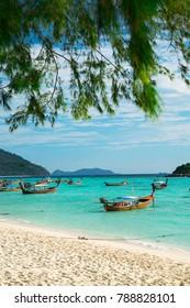 Many Boats On Beautiful Sea Sand Beach at Koh Lipe, Satun, Thailand
