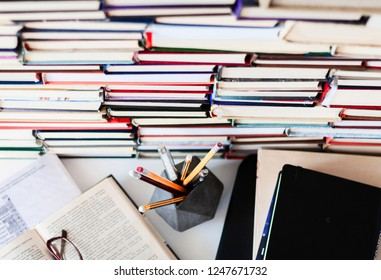 Many Books Piles, back to school background with copy space