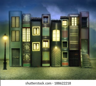 Many books with windows doors lamps in a external background in the night