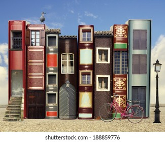 Many books with windows doors lamps in a external background with blue light sky