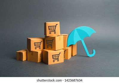 Many boxes with a pattern of shopping carts and umbrella.purchases. Providing warranty on purchased products. Consumer rights. Protection. Support of the national manufacturer by government
