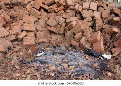 Many bricks on ashes