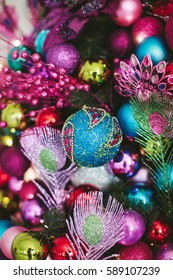 many bright Christmas decorations