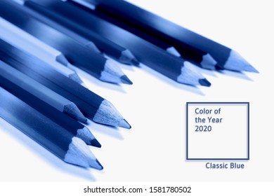 Many bright classic pencils toned blue. Education and school concept. Close-up. Main color trend of 2020.
