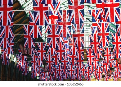 Many british flags in one frame