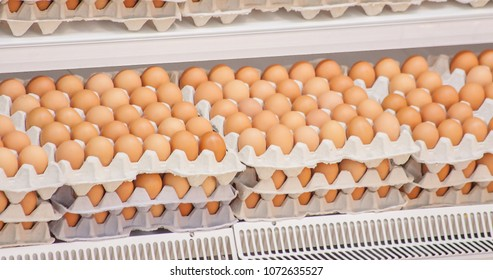 Many brown eggs in boxes in store.