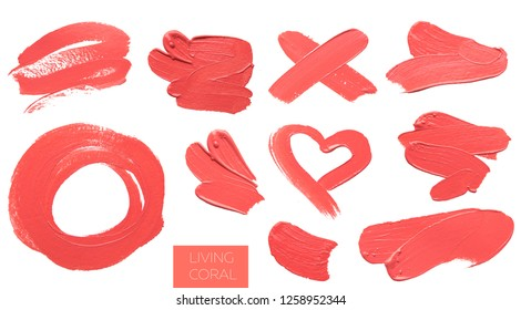 many brush and paint texture on paper living coral. Color of the year 2019. banner, isolated, copyspace