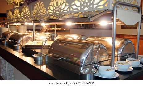 Many Buffet Heated Trays in Luxury Restaurant. Buffet food. Self-service restaurant.All inclusive