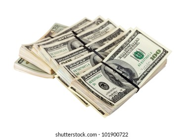 Many bundles of US dollars bank notes. Isolated on white background