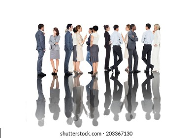 Many business people standing in a line on white background