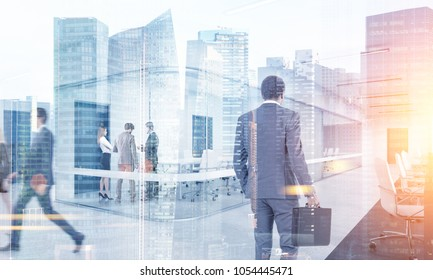 Many business people walking, talking and going to their workplace in a modern city. Toned image double exposure mock up