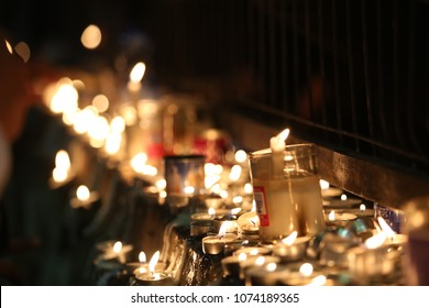 Many candles lit in a spiritual tradtional Jewish ritual