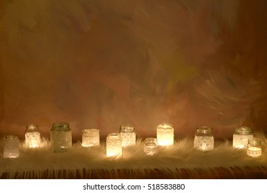 Many candles on painted background