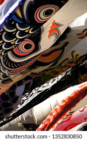 many carp-shaped banner.this is japanese culture.