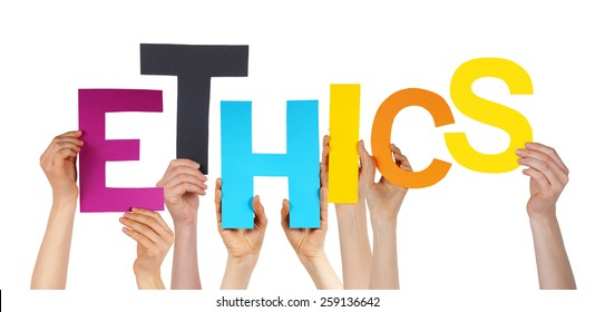 Many Caucasian People And Hands Holding Colorful Letters Or Characters Building The Isolated English Word Ethics On White Background