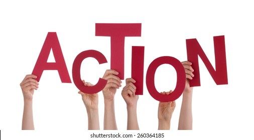 Many Caucasian People And Hands Holding Red Letters Or Characters Building The Isolated English Word Action On White Background