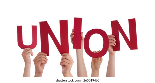 Many Caucasian People And Hands Holding Red Letters Or Characters Building The Isolated English Word Union On White Background