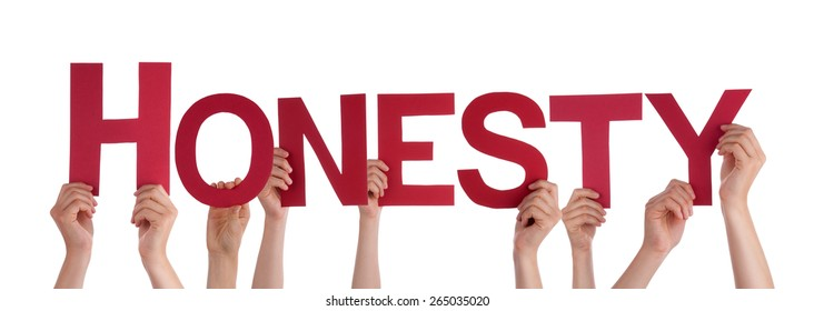 Many Caucasian People And Hands Holding Red Straight Letters Or Characters Building The Isolated English Word Honesty On White Background