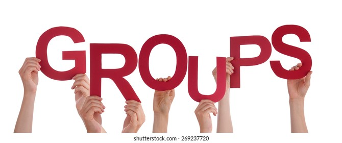 Many Caucasian People And Hands Holding Red Letters Or Characters Building The Isolated English Word Groups On White Background