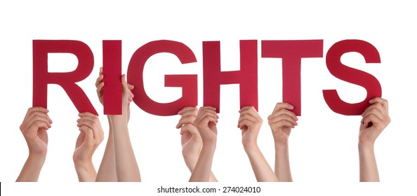 Many Caucasian People And Hands Holding Red Straight Letters Or Characters Building The Isolated English Word Rights On White Background