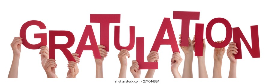 Many Caucasian People And Hands Holding Red Letters Or Characters Building The Isolated German Word Gratulation Which Means Congratulation On White Background