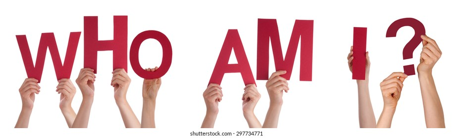 Many Caucasian People And Hands Holding Red Letters Or Characters Building The Isolated English Word Who Am I On White Background