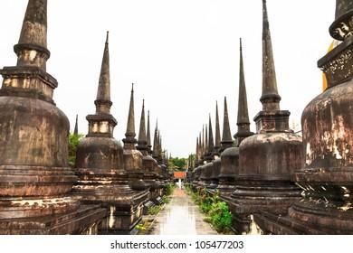 Many Chedis in Wat Phra Mahathat , Nakhon Si Thammarat, South, Thailand
