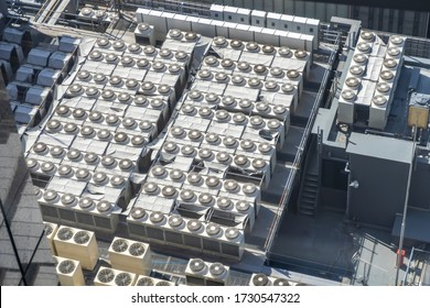 Many chillers air condition on the factory