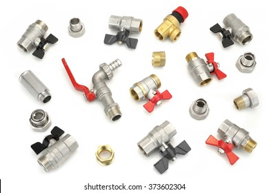 Many Chrome Plated Brass Ball Valves And Different Fittings,  Isolated On White Background, Top View, Conceptual Image
