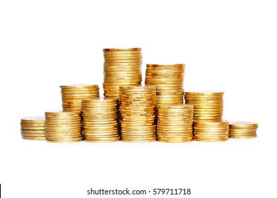 Many coins in column isolated on white background