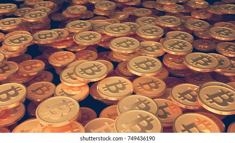 Many coins with the image of the sign of btc. 3d illustration