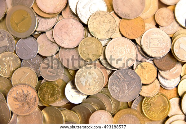 Many coins on the table.
